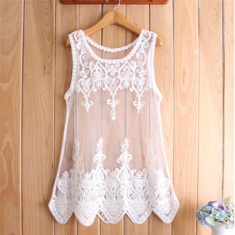 Fashion Women Mesh Lace Shirts Embroidered Flowers Sleeveless Perspective Tank Tops Overalls S- 6XL