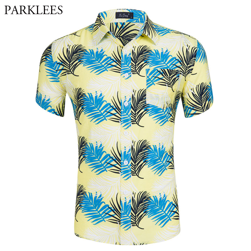 ARTFFEL Men Summer Checkerboard Print Button Down Short Sleeve Plus Size Dress Shirt