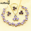 XUTAAYI Hot Selling Purple Created Amethyst Jewelry Sets For Women Gold Color Earrings Necklace Pendant Rings Bracelet
