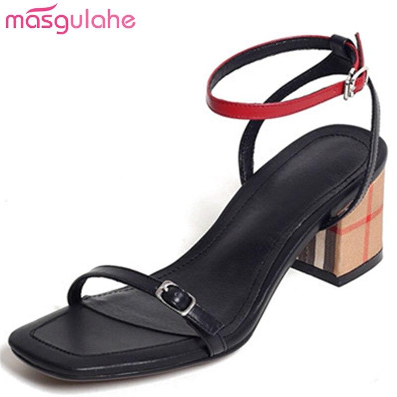 heels sommer echtes sandalen schnalle neue mode Masgulahe frau schwarz elegante leder high schuhe frauen Nm8n0w