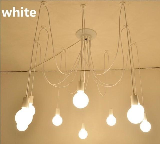 SJHZ White/Black 5/6/8 luster Retro edison bulb chandelier loft Pendant Lamp light