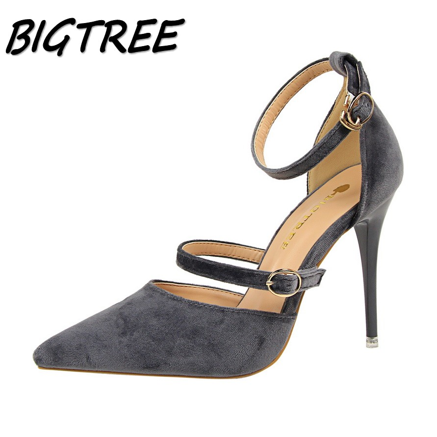 BIGTREE summer women pointed toe High heel shoes woman shallow pumps Fashion ladies Buckle Strap Sexy stilettos shoes flock women pumps flock high heels shoes woman fashion 2017 summer leather casual shoes ladies pointed toe buckle strap high quality