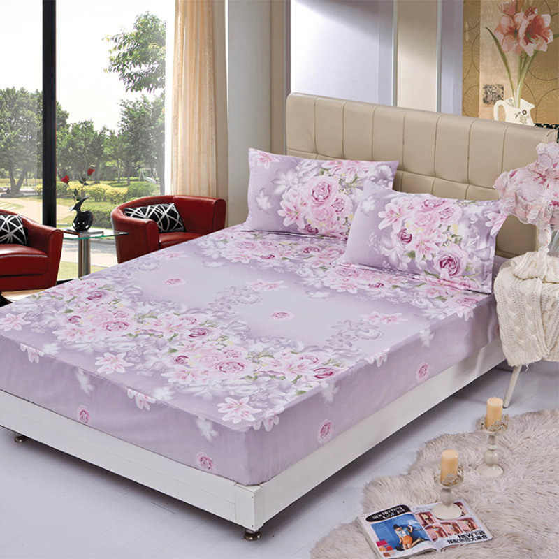 1pcs 100%Polyester Printed Solid Fitted Sheet Mattress Cover Four Corners With Elastic Band Bed Sheet