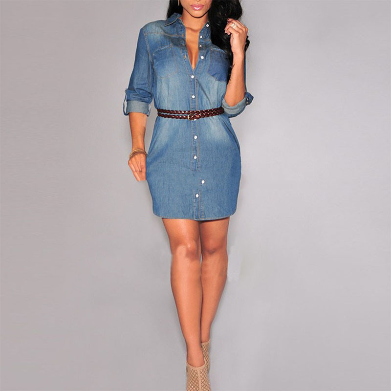 968cef49f5 Elegant Women Fashion Winter Denim Dress Sexy Office Lady Button ...