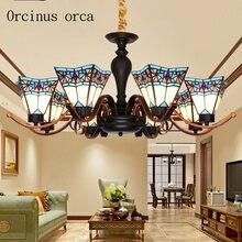 Высококачественная стеклянная люстра в средиземноморском стиле для гостиной, американская деревенская простая современная люстра, бесплатная доставка