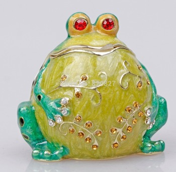 Green Belly Frog Jewelry Box with Czech Crystals Metal Trinket