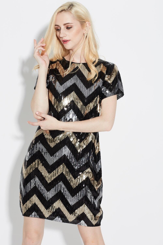 Халат волнистый узор геометрический прямой Винтаж Гэтсби блестки Потрясающие короткий рукав мини приталенные Женские коктейльные платья для вечеринок