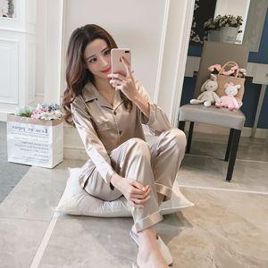 Image 4 - ZOOLIM grande taille M 5XL Satin vêtements de nuit femmes pyjamas ensembles 2 pièces soie sommeil salon intérieur vêtements femmes vêtements de nuit Pijama