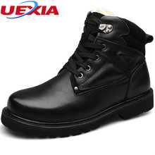 Mens Shoes Winter Warm Fur Boots Casual Men Shoes Male Luxury Cow Leather Sheepskin Wool Patchwork Snow Boots Plus Size 37-48