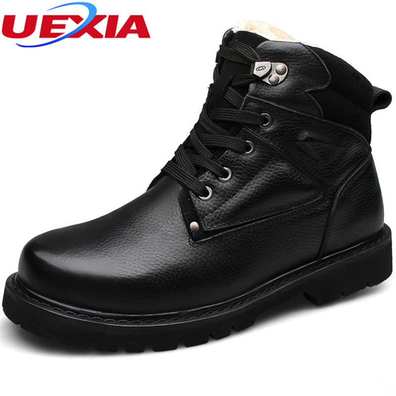 Mens Shoes Winter Warm Fur Boots Casual Men Shoes Male Luxury Cow Leather Sheepskin Wool Patchwork Snow Boots Plus Size 37-48 цена 2017