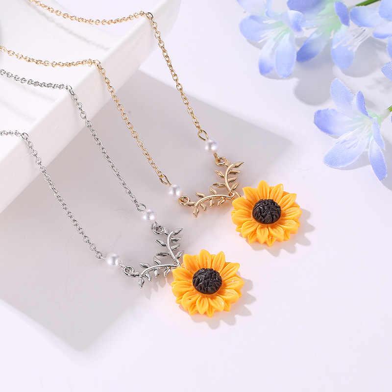 2018 nowe piękno słońce naszyjnik z wisiorem w kształcie kwiatu żółty słonecznik perła roślin złoty naszyjnik typu choker naszyjnik dla kobiet najlepszy prezent dla dziewczyny biżuteria