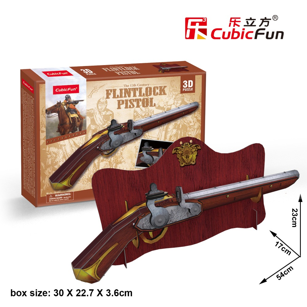 Candice guo CubicFun 3D paper puzzle model building game the 17th century flintlock pistol gun toy kid birthday gift present 1pc