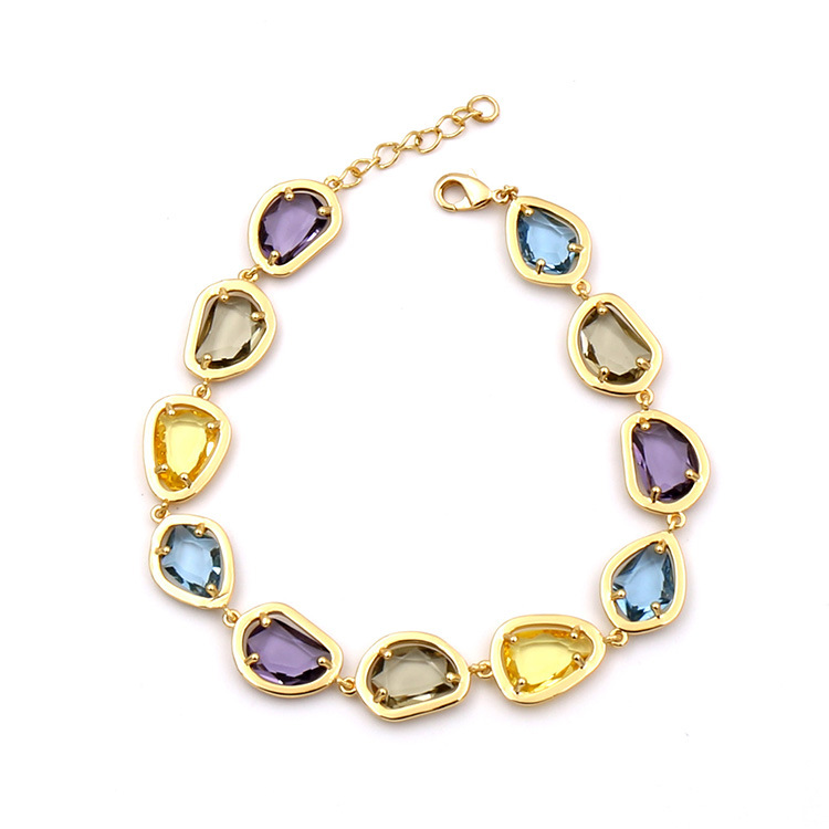 Luxury Brand fine Jewelry For Women middle east Colorful crystal Bracelet Candy color Gold rose Chain Bracelet Cute Party Bangle