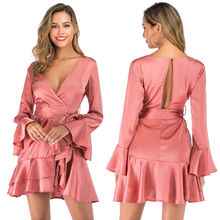 2019 Autumn Layered Ruffle Hem Dress Women Deep V Neck Tie Cutout Back Bow Dress Pink Blue Long Flare Sleeve Dresses Winter New цена в Москве и Питере