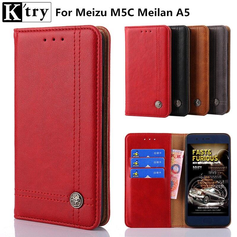 K'try Pour Meizu M5C Cas De Luxe Portefeuille Stand Flip Étui En Cuir Pour Meizu M5C Meilan A5 Couverture de Téléphone + Carte Slots