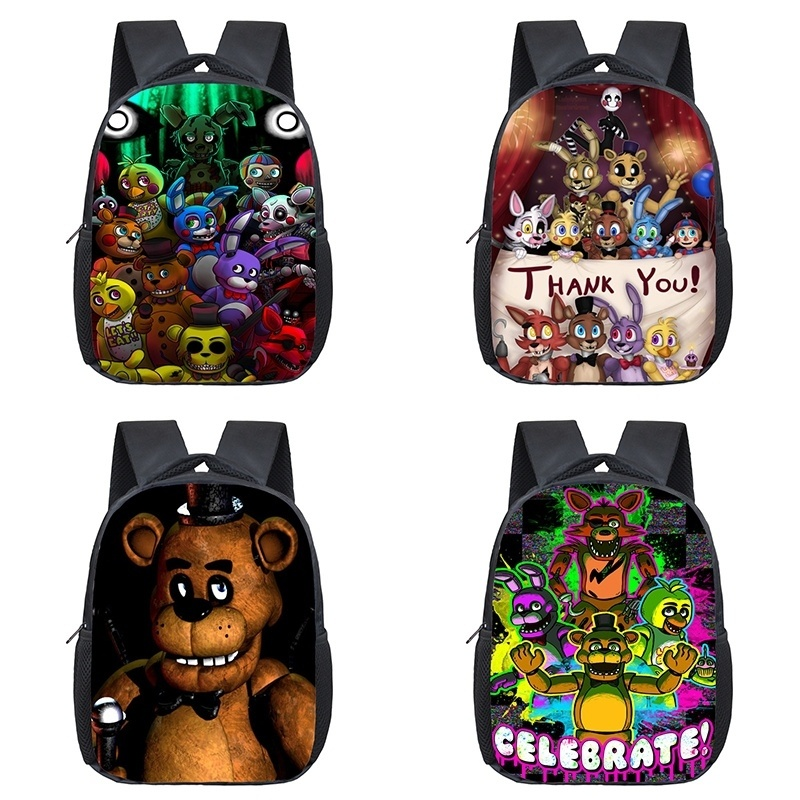 12 Inch Backpacks Five Nights At Freddy's Toddler Kids School Bags FNAF Knapsack Preschool Children Bag Travel Freddy Backpack