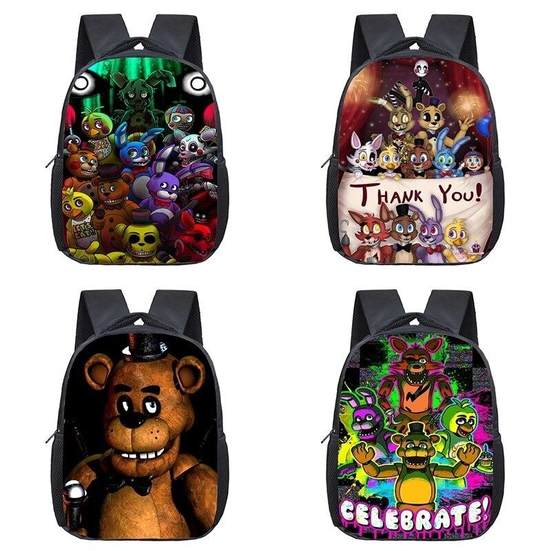12 Inch Backpacks Five Nights At Freddy's Toddler Kids School Bags FNAF Knapsack Preschool Children Bag Travel Freddy Backpack