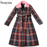SVORYXIU Winter Long Overcoat Outwear Women S High Quality Pink Fur Collar Wool Blended Vintage Plaid