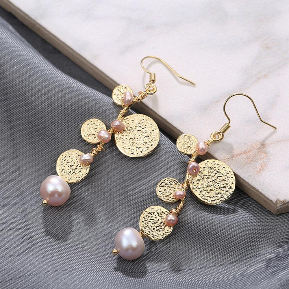 SEVEN GIRL Handmade 14k snake bone chain long Pearl earrings Freshwater Pearl dangle Earrings For Women Party Jewelry