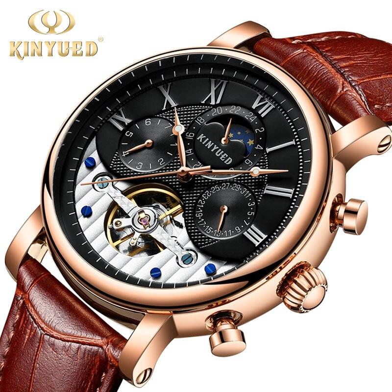 KINYUED メンズ自動機械式時計トップの高級ブランドファッショントゥールビヨン本革男スポーツ腕時計レロジオ masculino  グループ上の 腕時計 からの 機械式時計 の中 1