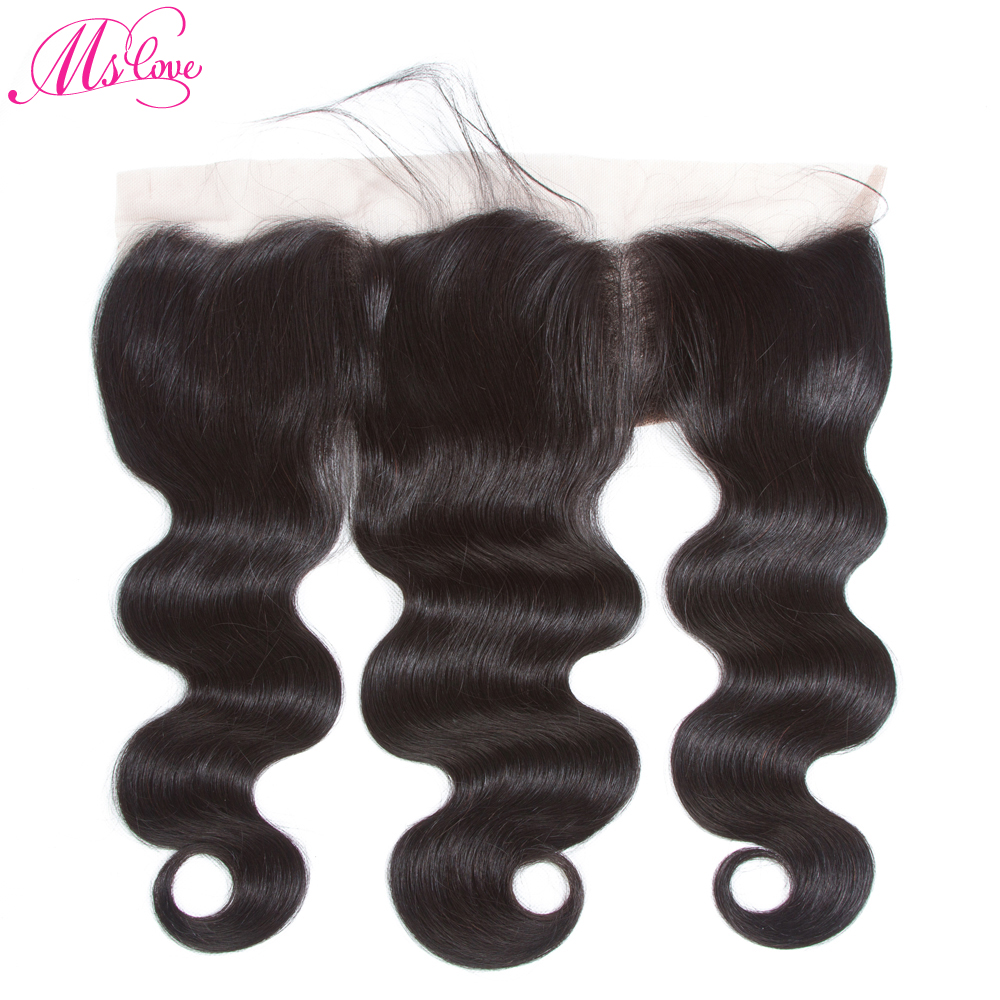 Ms Love Lace Frontal 13x4 Body Wave Human Hair Closure Brazilian Non Remy Hair Extension
