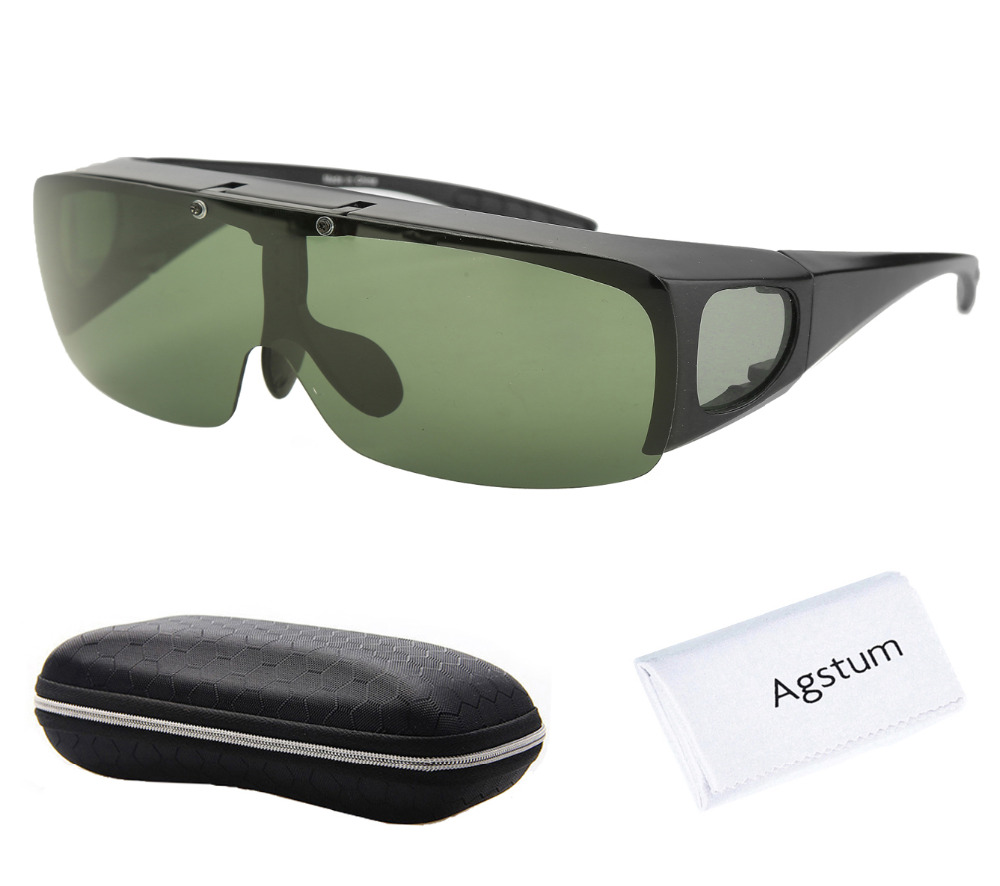 Image 2 - Agstum Mens Womens Wraparound Goggles Polarized Fishing Driving Glasses Flip Up Fit Over Sunglasses-in Men's Sunglasses from Apparel Accessories on AliExpress