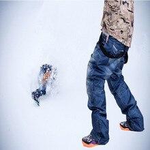 2016 New  branded old-style denim suspenders thickened snowboard pants for men Wear waterproof windproof breathable ski pants