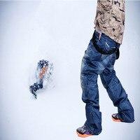 2016 New branded old style denim suspenders thickened snowboard pants for men Wear waterproof windproof breathable ski pants
