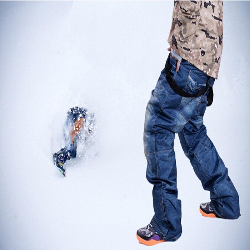 Prix pour 2016 Nouvelle marque vieux-style denim bretelles épaissie snowboard pantalon pour hommes Porter imperméable coupe-vent respirant ski pantalon