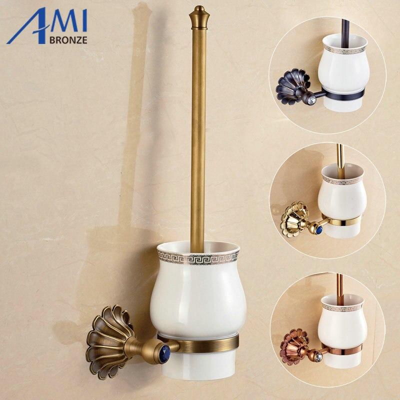 12-Petals Series Antique/Gold/Black/Rose Brass Toilet Brush Holders Bathroom Accessories hardwares antique rose