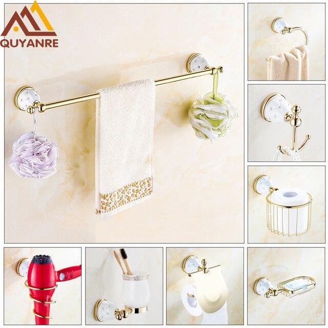 Quyanre Luxury Golden Diamant Bad Hardware Set Edelstahl Goldene