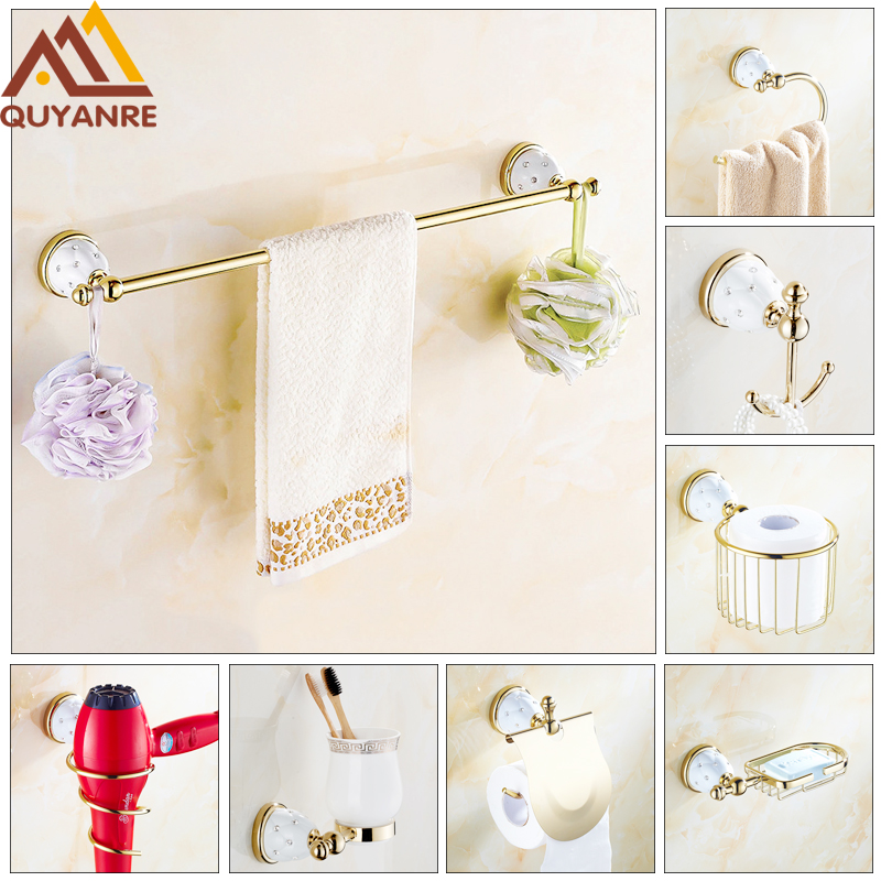 Quyanre Luxury Golden Diamond Bathroom Hardware Set Stainless Steel Golden Bathroom Accessories Toothbrush Cup Paper Towel Hook боди для девочек
