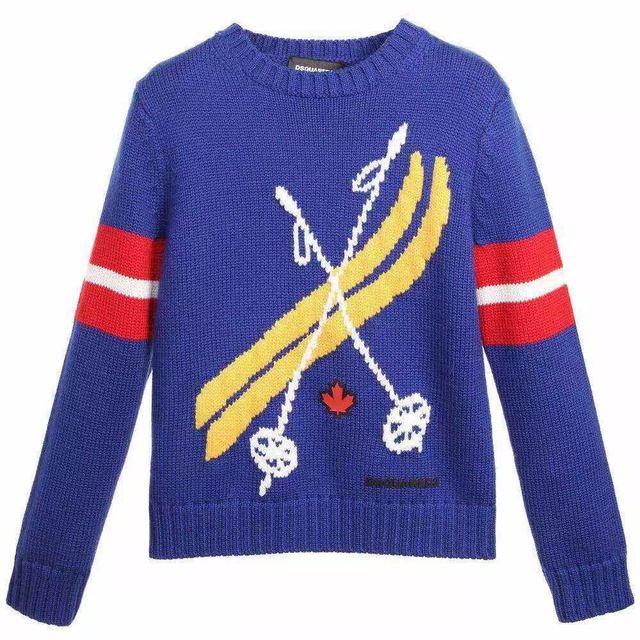 2016 New Baby вязать Свитер Маленькие Мальчики ограждения Дизайн пуловеры свитер Синий оптовая