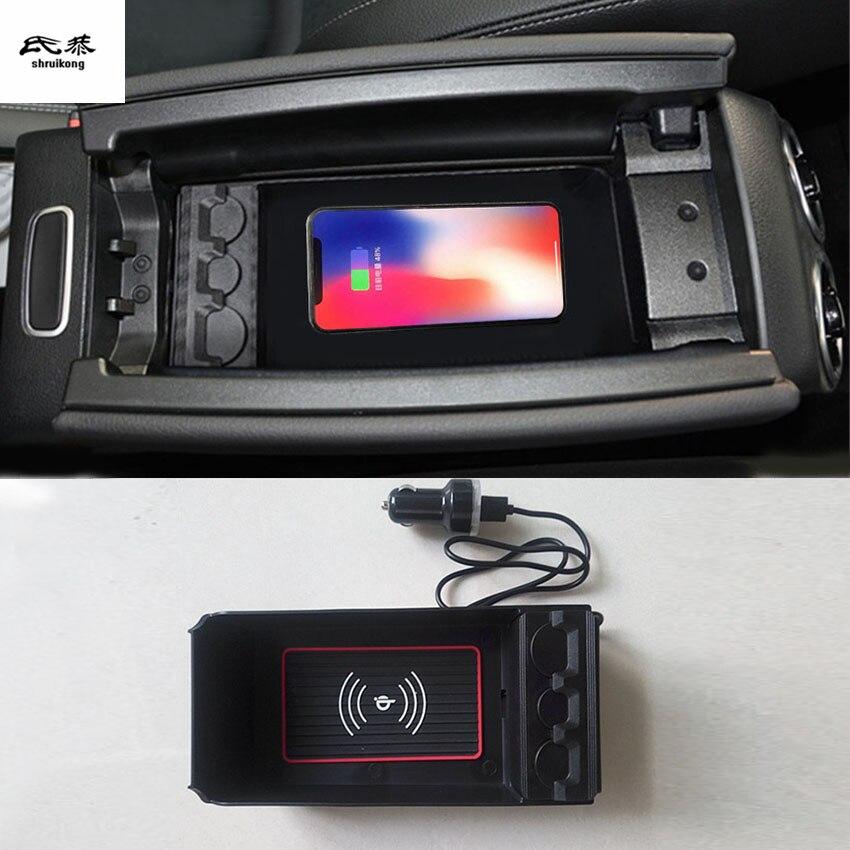 1 lot téléphone portable sans fil de charge Centrale Accoudoir boîte de rangement pour 2018 2019 Mercedes Benz A200 A180 accessoires de voiture