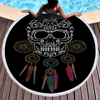 3d Digital Printing Sugar Skull Beach Towels for Man Black Gold Cool Soft Beach Towel with Tassels Travel Accessories Yoga Mat