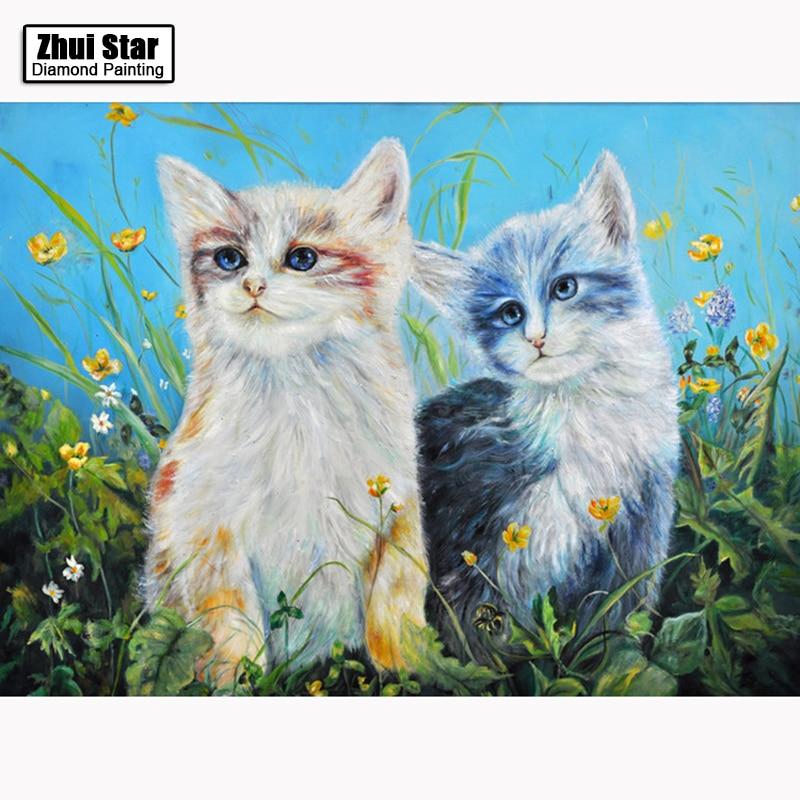 5D DIY Diamantová mozaika diamantové výšivky Dvě malé kočky čtvereční Křišťálové vyšívané Cross Stitch Domácí dekorace Dárek