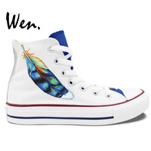Wen Original White Hand Painted Shoes Design Custom Feather Men Women's High Top Canvas Sneakers Birthday Gifts