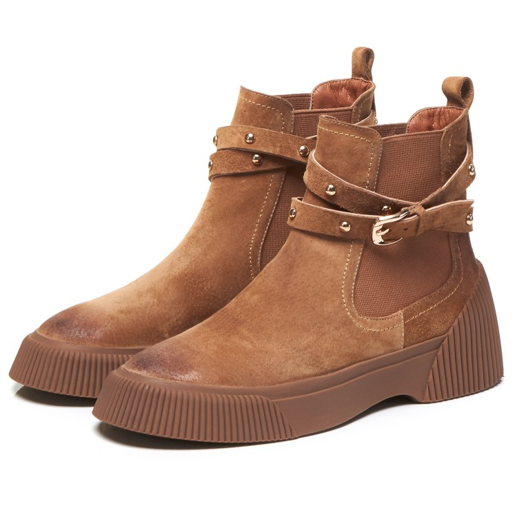 MLJUESE 2019 women ankle boots Pigskin brown color retro winter short plush pointed toe platform flat women Chelsea boots - 4