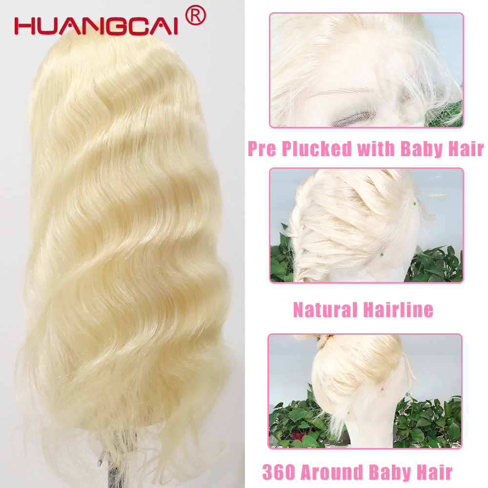 Image 2 - 613 Blonde Lace Front Human Hair Wig Peruvian Body Wave Lace Front Wig Pre Plucked 13*4 Glueless 613 Lace Wigs Remy Hair-in Human Hair Lace Wigs from Hair Extensions & Wigs