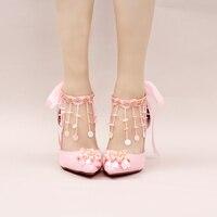 Hot Summer rose fleurs, perle de mariage chaussures, haute talons, fine avec paillettes, glands, bracelets, mariée chaussures, femmes de sandales