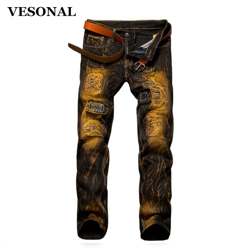 VESONAL 2017 Brand Biker Hip Hop Swag Men Jeans Pants Fashion Casual Vintage Hole Printed Slim Ripped Denim Mens Trousers VE112 2017 fashion patch jeans men slim straight denim jeans ripped trousers new famous brand biker jeans logo mens zipper jeans 604