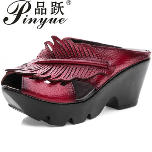 Genuine Leather Platform Women Sandals Shoes Woman Summer Wedge Sandals Women Color Black Red Slippers Sandals Mother Shoes black women wedge slippers 12cm high heel platform pumps genuine leather shoes woman gladiator sandals slides wedges creepers