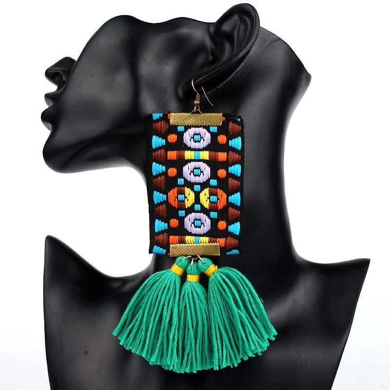 2018 New European Fashion Big Tassel Earrings Drop Female Personality Exaggerated Vintage Long Earrings for women Jewelry Gift