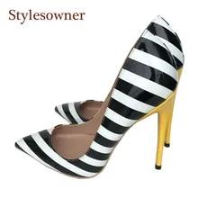 51dee835a Stylesowner 2018 Sapatos Novos Mulheres Zebra Black White Stripe Elegante  Sapato De Casamento 33-44