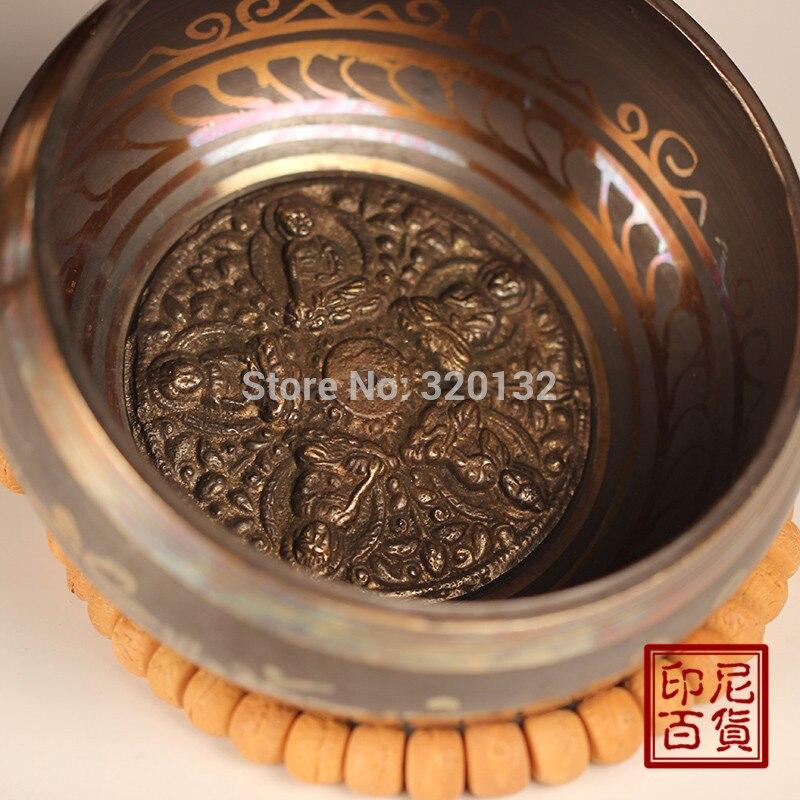 """8 """"коврик медитация чакры 19-20 см диаметр мужские латунные чаши заживление подлинной славной старой йоги редкая тибетская Поющая чаша медь"""