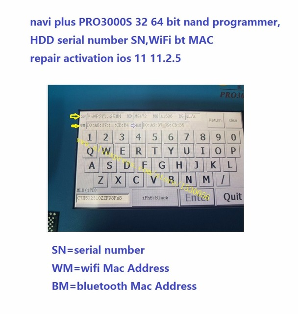 US $239 0 |navi plus PRO3000S 32 64 bit nand programmer,HDD serial number  SN,WiFi bt MAC repair activation ios 11 11 2 5-in Connectors from Lights &