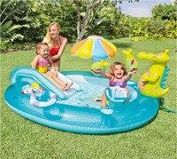 Crocodile Park Fountain Inflatable Pad Pool Baby Marine Ball Pool Children Portable Pool Baby Swimming Pool Kid Pool