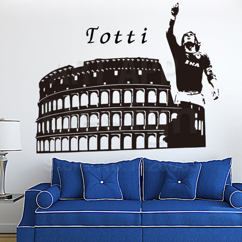 Art design cheap home decoration vinyl football totti wall for Cheap house accessories