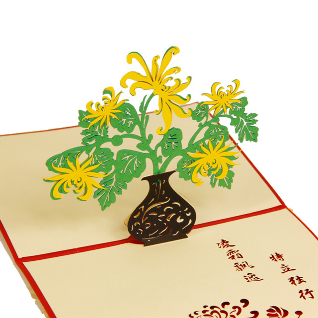 Handmade Animated Adult Birthday Greetings Cards Kirigami 3D Pop Up Card Chrysanthemum Free Shipping 10pcs