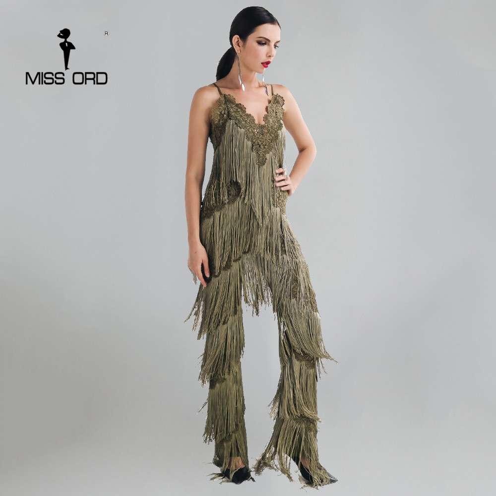 MISSORD 2019 Sexy sleeveless V-NECK halter lace tassel   jumpsuit   FT4661-2